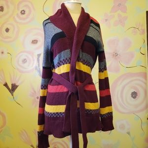 Long Striped Cardigan Grey Yellow Maroon Navy Tie